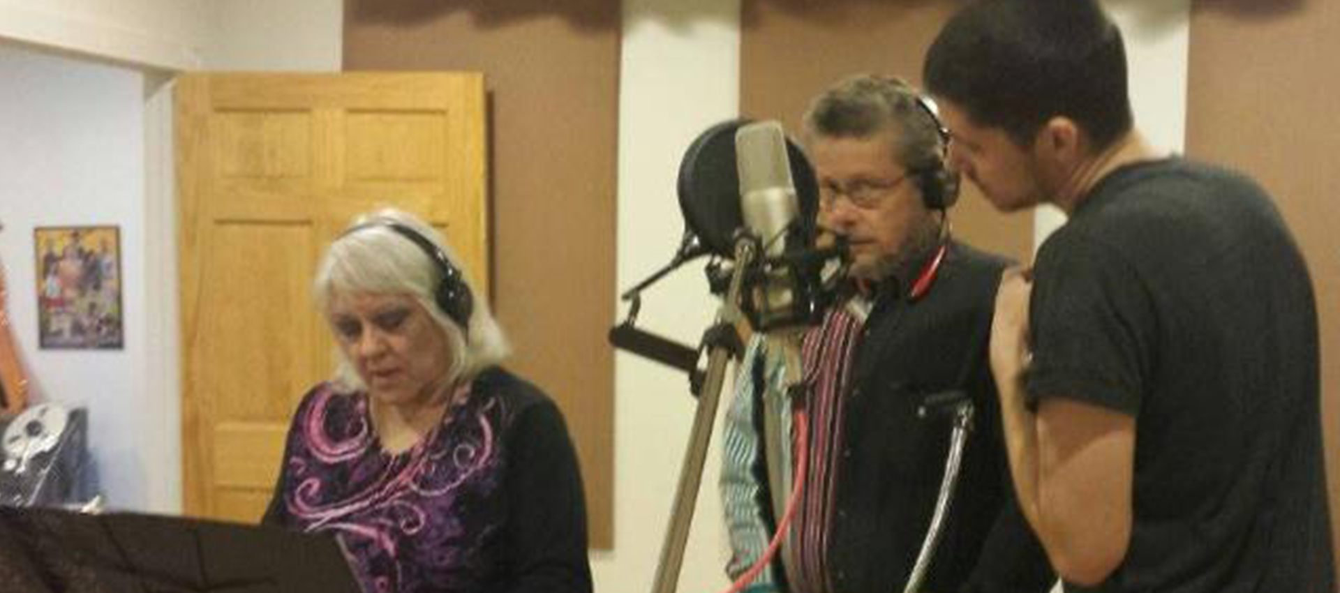 Darrell, Nemra and son, Sam in the Studio